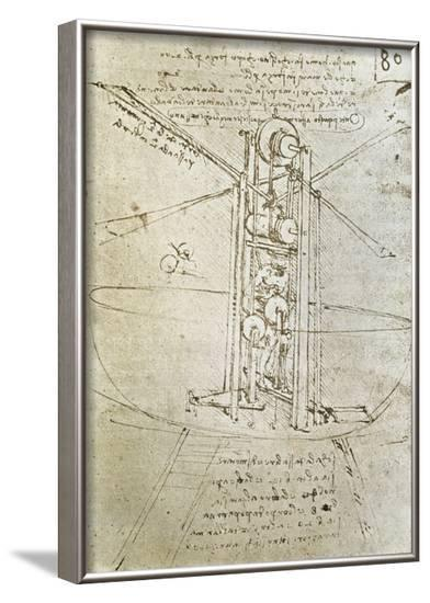 Flying Machine, Drawing by Leonardo Da Vinci--Framed Art Print