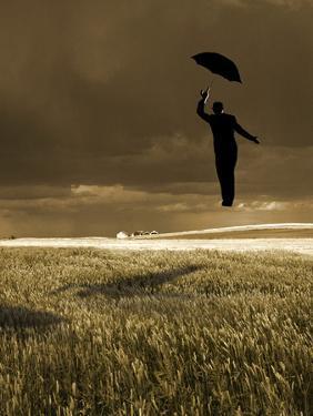 Flying Man with Umbrella