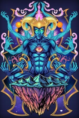 Psychedelic Meditating God by FlyLand Designs