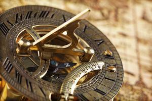 Antique Brass Compass and Sundial on World Map by Flynt