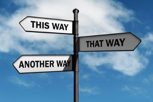 Crossroad Signpost Saying This Way, that Way, Another Way Concept for Lost, Confusion or Decisions by Flynt