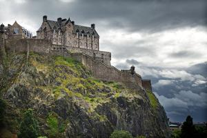 Dramatic Lighting as Storm Clouds Gather around Edinburgh Castle in Scotland by Flynt