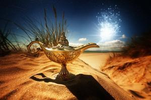 Magic Lamp in the Desert from the Story of Aladdin with Genie Appearing in Blue Smoke Concept for W by Flynt
