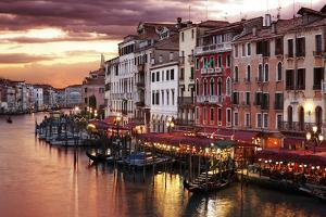 Venice Grand Canal Gondolas, Hotels and Restaurants at Sunset from the Rialto Bridge by Flynt