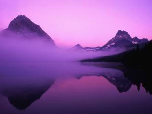Fog Over Mountains and Lake