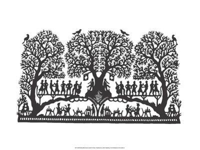 Folk Art Silhouette of Music in the Trees