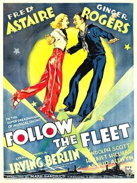 Follow The Fleet, Ginger Rogers, Fred Astaire on window card, 1936