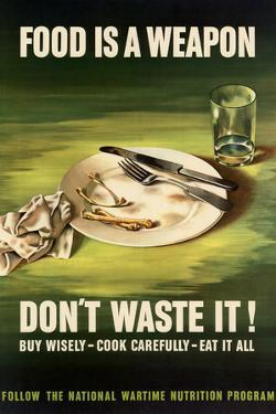 Food is a Weapon Don't Waste It WWII War Propaganda Plastic Sign