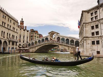 Gondola on the Canal Grande, Venice, Heading to the Rialto Bridge