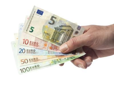 Hand with Euro Bills from 5 to 100