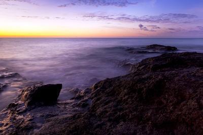 Long Exposure Shot of the Rocky Coastline of Fuerteventura at Sunrise