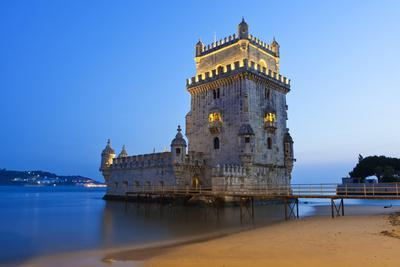 The Famous Tower of Belem at Lisbon after Sunset
