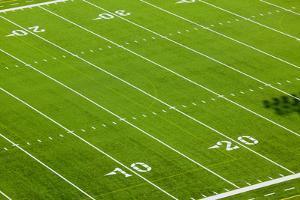 Football field of Creighton University Morrison Football Stadium showing the 10 yard and 20 yard...