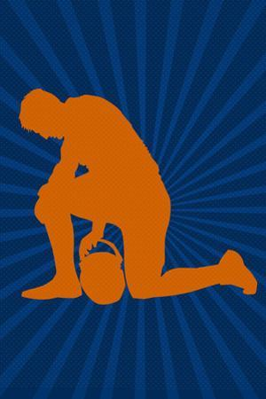 Football Prayer Pose Sports Poster