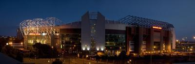 Football Stadium Lit Up at Night, Old Trafford, Greater Manchester, England