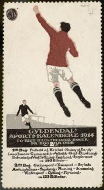Footballer Leaps for the Ball on a Poster for a Norwegian Sports Calendar