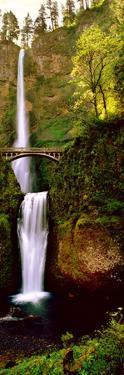 Footbridge in Front of a Waterfall, Multnomah Falls, Columbia River Gorge, Multnomah County, Ore...