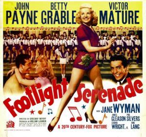 Footlight Serenade, John Payne, Betty Grable, Victor Mature on Window Card, 1942