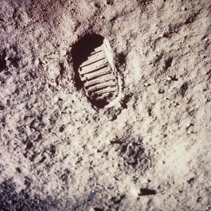 Footprint Left by Astronaut on Lunar Soil During Apollo 11 Lunar Mission in Walk on Moon's Surface