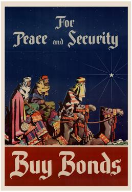 For Peace and Security Buy Bonds WWII War Propaganda Art Print Poster