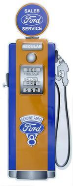 Ford Gas Pump Die-cut Tin Sign