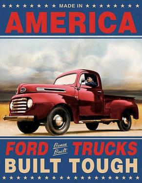 Ford Trucks Built Tough Retro Vintage Tin Sign