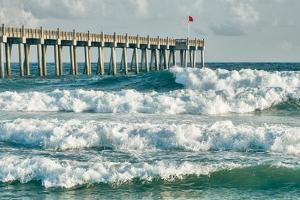 Surf's up at Pensacola Beach Fishing Pier by forestpath
