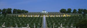 Formal Garden in Front of a Palace, Sanssouci Palace, Potsdam, Brandenburg, Germany