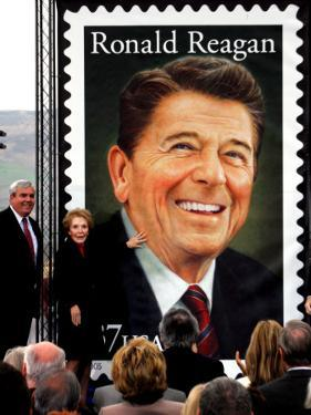 Former First Lady and Giant Replica of US Postage Stamp Honoring Late Husband, Ronald Reagan