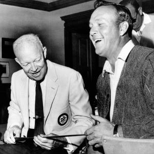 Former President Dwight Eisenhower Enjoys a Laugh with Famed Golfer, Arnold Palmer, Aug 12, 1965