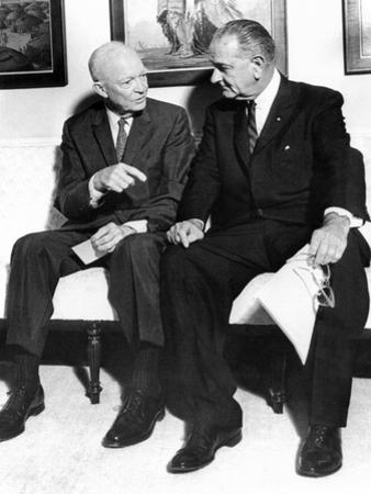Former President Dwight Eisenhower with President Lyndon Johnson at the White House