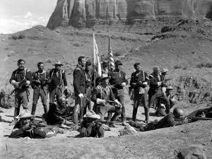 FORT APACHE, 1948 directed by JOHN FORD Henry Fonda, John Wayne and Victor McLaglen (b/w photo)