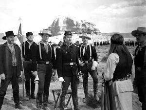 FORT APACHE, 1948 directed by JOHN FORD Victor McLaglen, John Wayne and Henry Fonda (b/w photo)