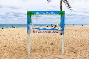 Fort Lauderdale Beach Sign - Wish You Were Here, Broward County, Florida, USA