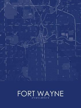 Fort Wayne, United States of America Blue Map