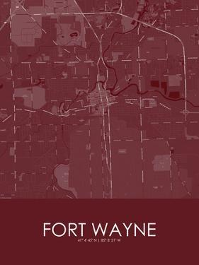 Fort Wayne, United States of America Red Map