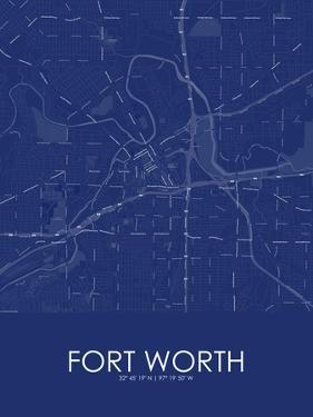 Fort Worth, United States of America Blue Map