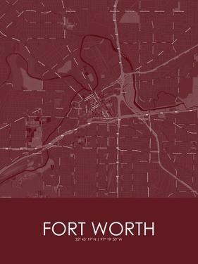 Fort Worth, United States of America Red Map