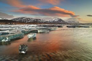 Iceland, South Iceland, Jokulsarlon, Ice on the Lagoon Reflecting the Colours of Dawn by Fortunato Gatto