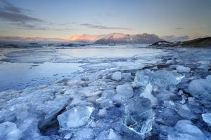 Iceland, South Iceland, Jokulsarlon Lagoon During the First Light of Sunrise by Fortunato Gatto