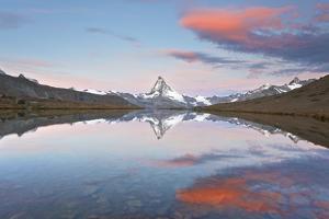 Switzerland, Valais, Matterhorn, Beautiful Morning Light and Reflection at Stellisee Lake by Fortunato Gatto