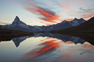 Switzerland, Valais, the Sky on Fire During the Sunset Above the Matterhorn by Fortunato Gatto