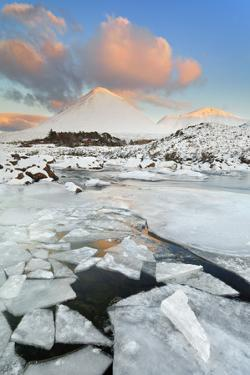United Kingdom, Uk, Scotland, Highlands, Red Cuillin During a Majestic Winter Sunset by Fortunato Gatto