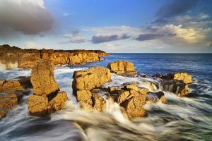 United Kingdom, Uk, Scotland, Inner Hebrides, Contrast Between the Yellow Rocks and the Blue Water by Fortunato Gatto