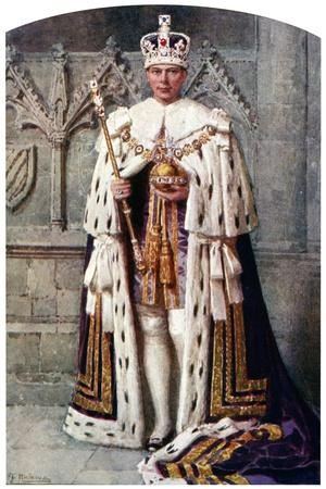 George VI in Coronation Robes: the Robe of Purple Velvet, with the Imperial State Crown, 1937