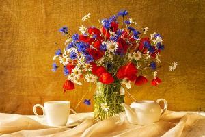 Still Life Bouquet Camomiles Cornflowers Poppies by FOTOALOJA
