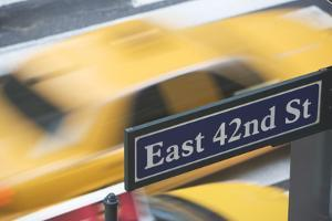 Usa, New York City, Manhattan, Road Direction Sign on 42Nd Street by Fotog
