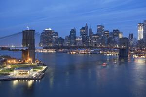 Usa, New York State, New York City, Brooklyn Bridge with Cityscape in Evening by Fotog