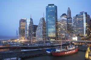 Usa, New York State, New York City, Seaport Museum with Skyscrapers in Background by Fotog