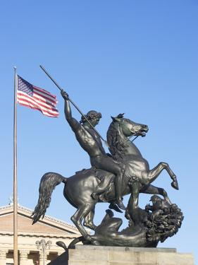 Usa, Pennsylvania, Philadelphia, Low Angle View at Statue in Front of Philadelphia Museum of Art by Fotog